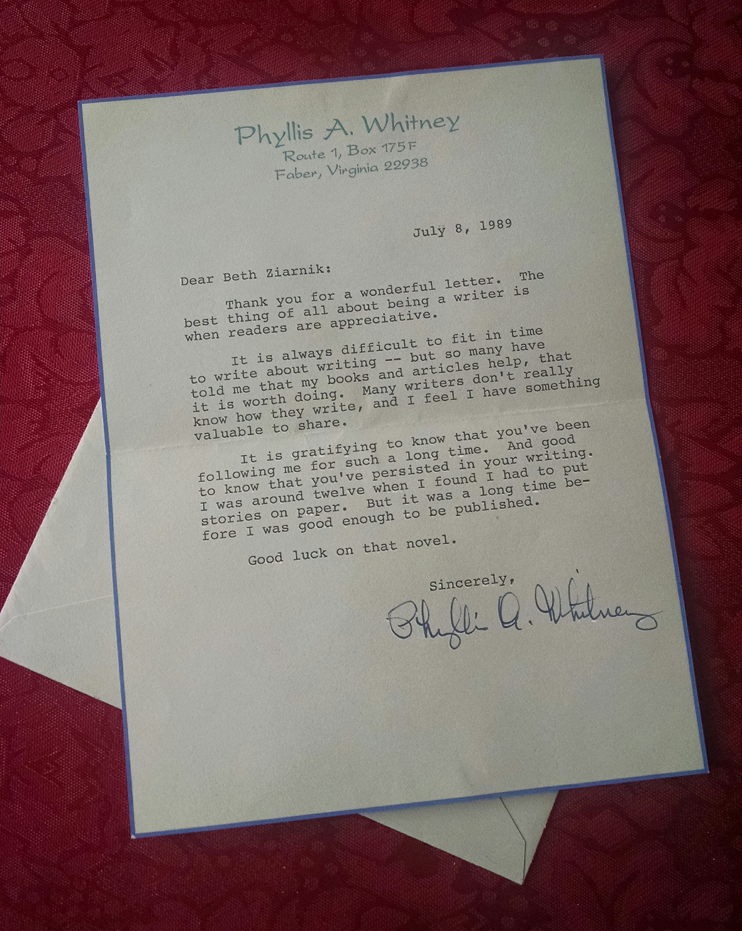 letter from Phyllis A Whitney to Beth Ann Ziarnik