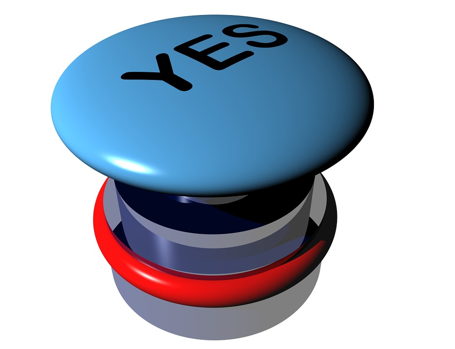 "A ""yes"" button press to indicate the appropriate response to Diet No More STEP THREE: trust and obey"