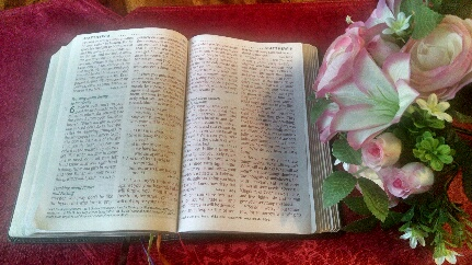 My open Bible with a spray of roses and lilies is to express loving encouragement from God's Word for Diet No More STEP THREE: Perfect Planning